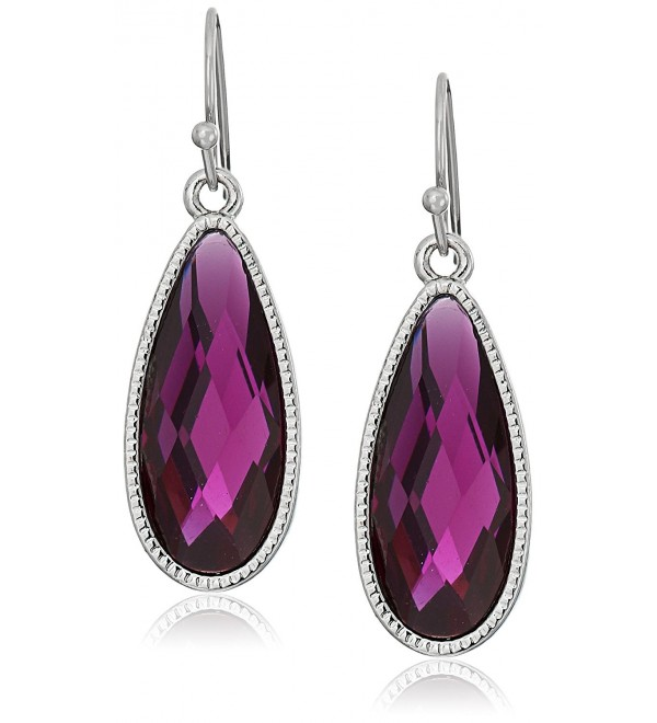 1928 Jewelry Silver-Tone Purple Elongated Teardrop Earrings - C012J69T5AR