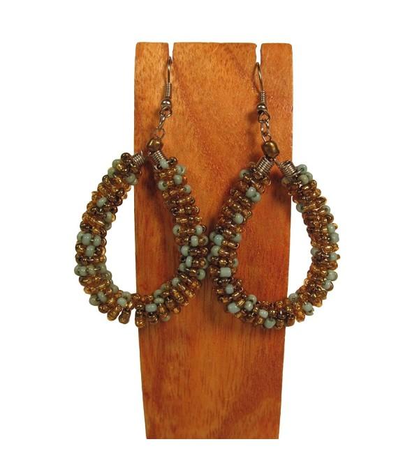 "1 1/2"" Handmade Multi Color Seed Bead Crochet Hoop Dangle Earring Turquoise Aruba Color - CJ126HDXZ89"
