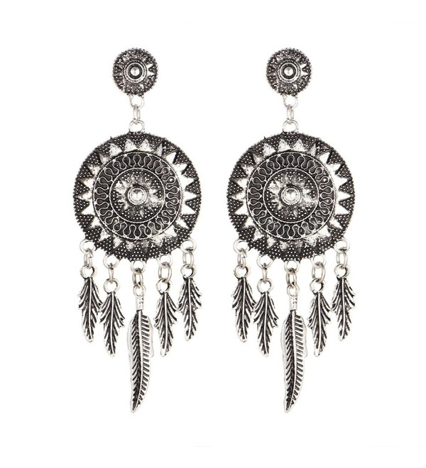 17KM 2016 Dream Catcher Vintage Leaf Feather Dangle Earrings Women Bohemia Earring Antique Silver Jewelry - CV12O33IHHO