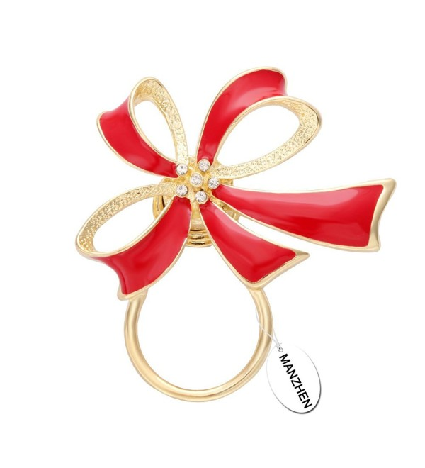 MANZHEN Red Enamel Bowknot Ribbon Magnet Brooch Eyeglass Holder Sunglass Hanger - CS12JPZ1001