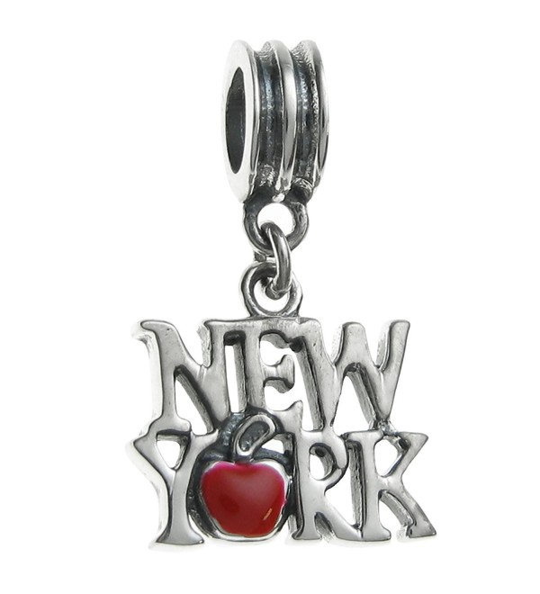 Sterling Silver New York City Big Red Apple Enamel European Style Dangle Bead Charms - C811APG4QYV