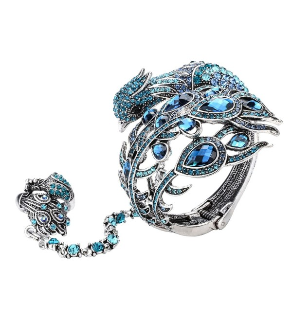Szxc Jewelry Women's Crystal Big Peacock Bracelet Slave Stretch Ring Set - blue - CR17YY0UTQD