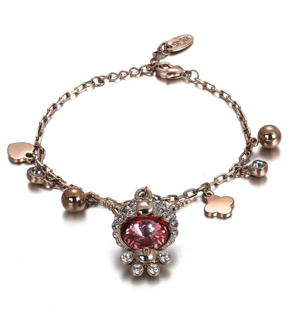 Menton Ezil Vintage Owl Charm Adjustable Bracelet Rose Gold Crystal Bracelets with Lobster Clasp Jewelry - CX12DAR4CXB