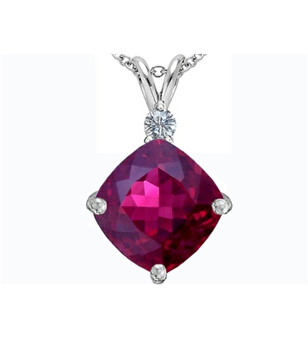 Star K Sterling Silver Large 12mm Cushion Cut Pendant - Created Ruby - C6119TI1B45