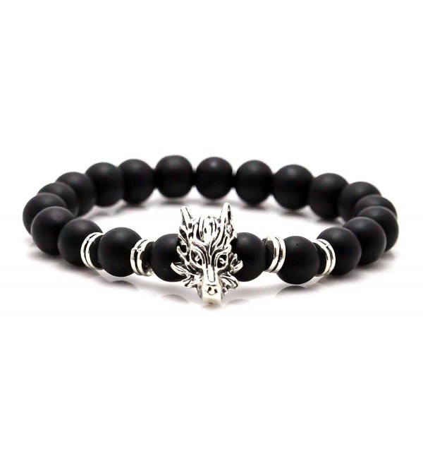 Xusamss Hip Hop Alloy Dragon Bangle 8MM Agate Lava Beads Elastic Bracelet-7.5inches - JHK.2 - C11866WTWC4