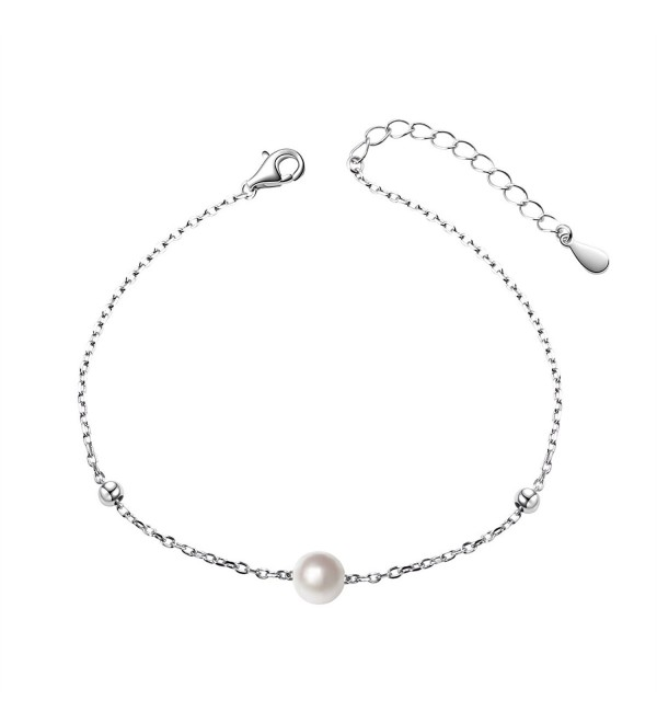 "S925 Sterling Silver 6mm Single Freshwater Cultured Pearl Bracelet for Women- 7""+2"" Extender - CY18694RL5N"