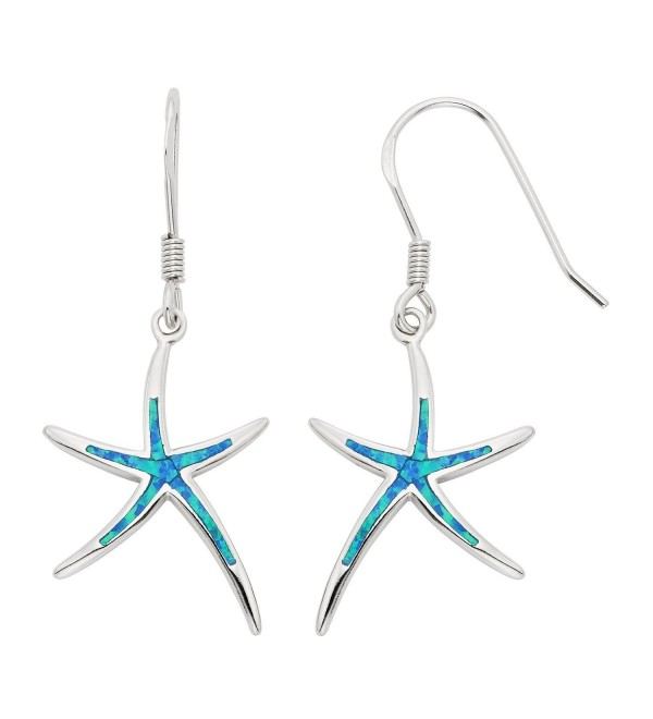 Sterling Silver- Gold Tone or Rose Tone Created Blue- White or Pink Opal Starfish Dangling Earrings - Blue - CZ11J3TOKCZ