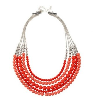 "D EXCEED Gift Idea Fashionable Multi Layered Red Coral Color 5-Row Round Bib Bead Necklace for Women 20"" - CS183GQ6KDW"