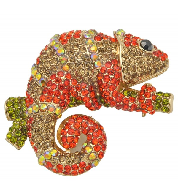 Gyn&Joy Golden Tone Red Crystal Rhinestone Chameleon Lizard Brooch Pin BZ033 - CG1824RM64K