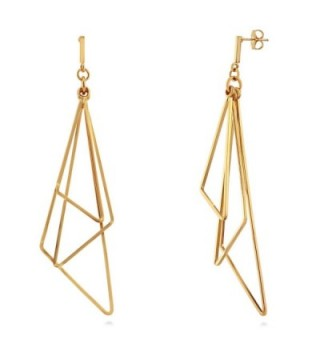 BERRICLE Gold Plated Base Metal Triangle Fashion Statement Dangle Drop Earrings - CQ12O8BJBWW