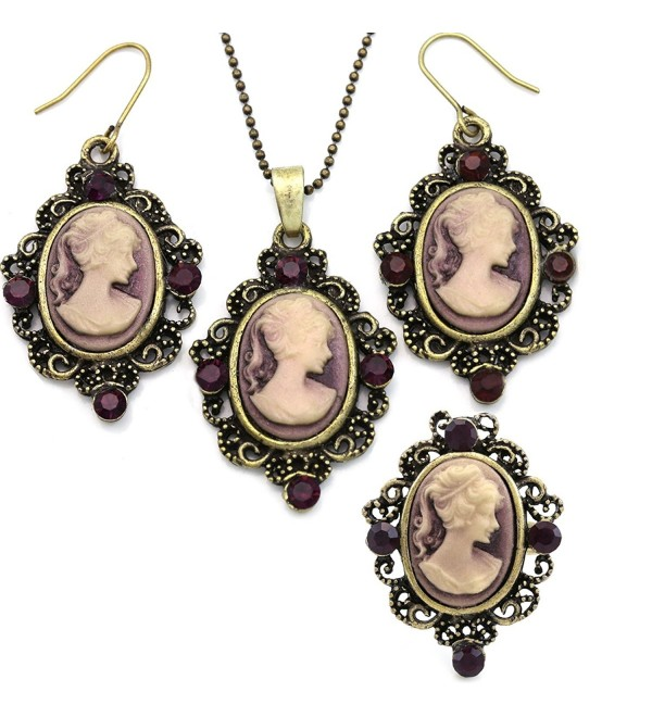 Purple Cameo Set Necklace Pendant Ring Dangle Drop Earrings Fashion Jewelry - CN119A0ZUN9
