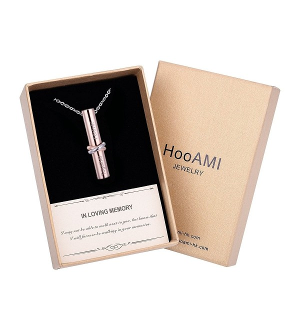 HooAMI Cremation Jewelry Together Love Cylinder Pendant Memorial Urn Necklace - Rose Gold-Gift Box - CP1853AY37H