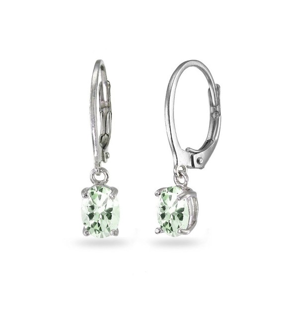LOVVE Sterling Silver Green Amethyst 7x5mm Oval Dangle Dainty Leverback Earrings- 3 Metal Options - C4184CMYUSU