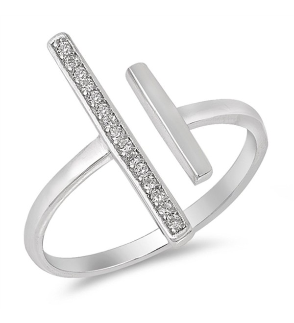 Open Bar Gap Clear CZ Wide Long Ring New .925 Sterling Silver Band Sizes 4-10 - CD1836RGYWQ