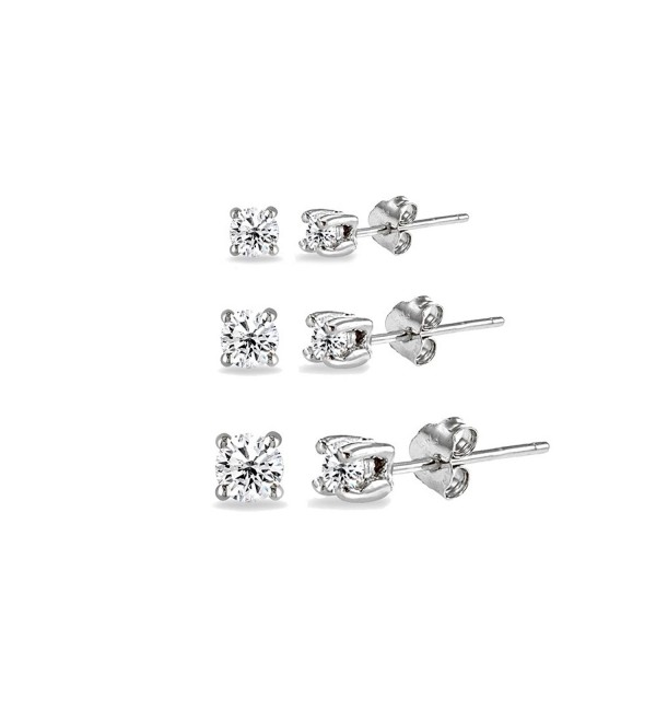 3 Pair Set Sterling Silver Cubic Zirconia Round Stud Earrings- 2mm 3mm 4mm - CE186OOY34I