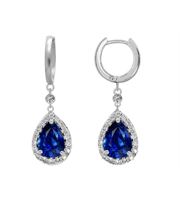 Star K Sterling Silver Pear Shape 9x7mm Drop Earrings Dangling On Huggie Hoop - Simulated Sapphire - CA112EVLKR7