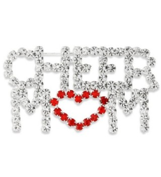 Silver Tone Pave Clear & Red Crystal Love Heart Cheer Mom Pin Brooch - CW11QI41Z71