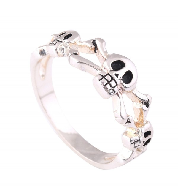 Acefeel Fashion Jewelry Silver-tone High Polished Black Enamel Triple Skulls And Crossbones Design Ring - CT1203IUQPT