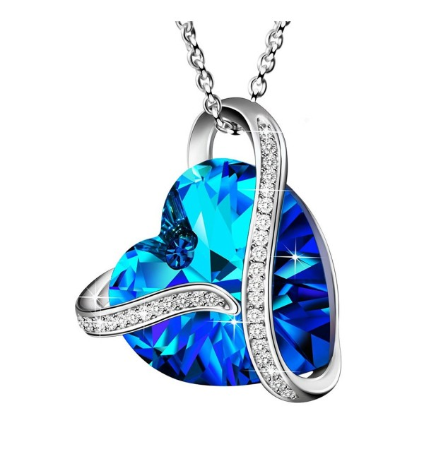 """Made with Swarovski Crystals """"Heart Of the Ocean"""" 925 Sterling Silver Blue Heart Pendant Necklace Gift - C917Z42KIUO"""