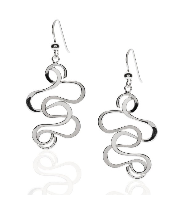 925 Sterling Silver Swirl Medium Dangle Statement Earrings - CL11DF4H1JX