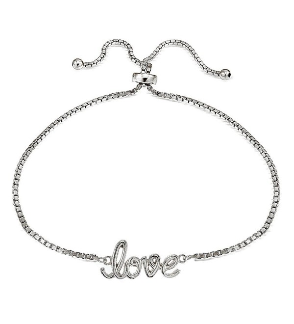 Sterling Silver LOVE Polished Adjustable Bracelet - CI12N8ZGRRQ