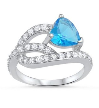 CHOOSE YOUR COLOR Sterling Silver Heart Knot Promise Ring - Blue Simulated Topaz - CV187Z2696D