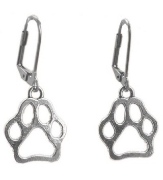 Sabai NYC Silvertone Paw Print Dangle Earrings on Leverback Earwires - C812NG8AFFH