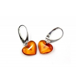 Genuine Natural Baltic Amber Dangle Leverback Earrings Hearts - Cognac - CC11UILBZHZ