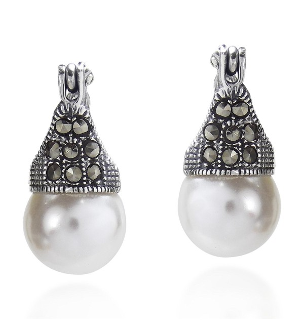 Vintage Flair Marcasite Style Pyrite and Cultured Freshwater Pearl .925 Sterling Silver 10 mm Earrings - CQ12NSCDARB