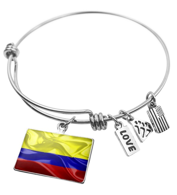 Expandable Wire Bangle Bracelet Colombia 3D Flag- Neonblond - Silver color - CV129NW53C7