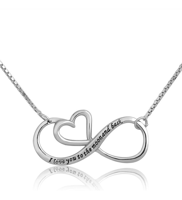 CoolJewelry Sterling Silver I Love You To The Moon And Back Infinity Heart Pendant Necklace - CD12MOI7LGN
