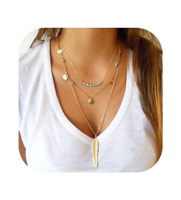 Sundear Multilayer Sequins Necklace Bohemia Turquoise Feather Necklace for Women - Gold Coin Feather - CK184HZMTXG