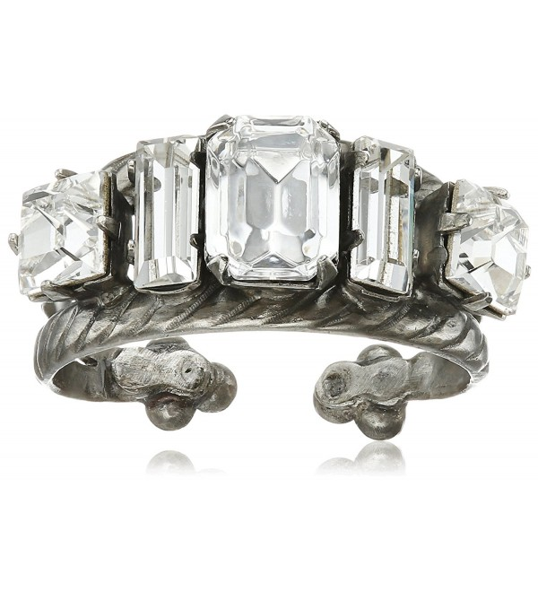 Sorrelli Geometric Crystal Double Band Ring - Crystal - CT120DJF44L
