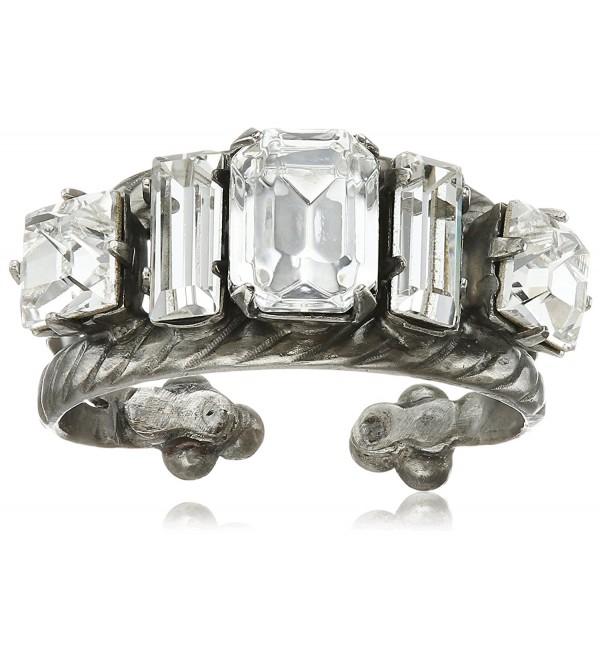 Sorrelli Geometric Crystal Double Band Ring - Crystal - CT120DJF44L