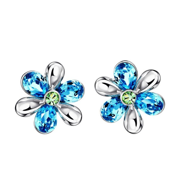 Neoglory Jewelry Platinum Plated Crystal Blue Petal and Green Stamen Flower Stud Earrings - Pink - CI110XNZWYZ