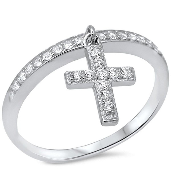 Dangling Silver Cross & Cubic Zirconia .925 Sterling Silver Ring Sizes 4-11 - CQ11E8P4JY3