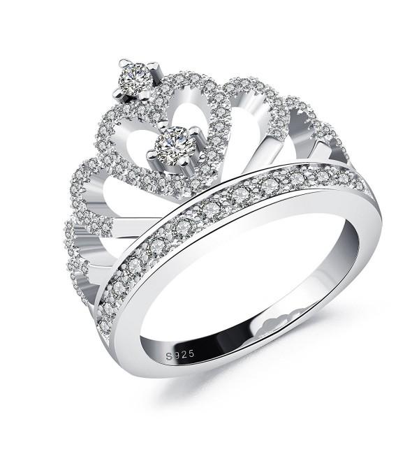Fashion Heart Zirconia Princess Plated - copper white gold crown - CV186TWZAY9