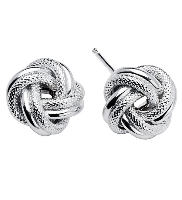 925 Sterling Silver Love Knot Rope Stud Earrings Rhodium Plated Made in Italy - CE128XR33LB