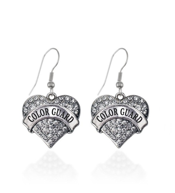 Color Guard Pave Heart Earrings French Hook Clear Crystal Rhinestones - CC1240KEJTF