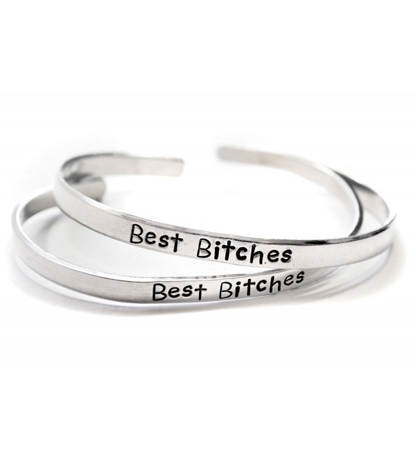 Best Bitches - Hand Stamped Aluminum Friendship Bracelet Pair - C411VYZXZ3B