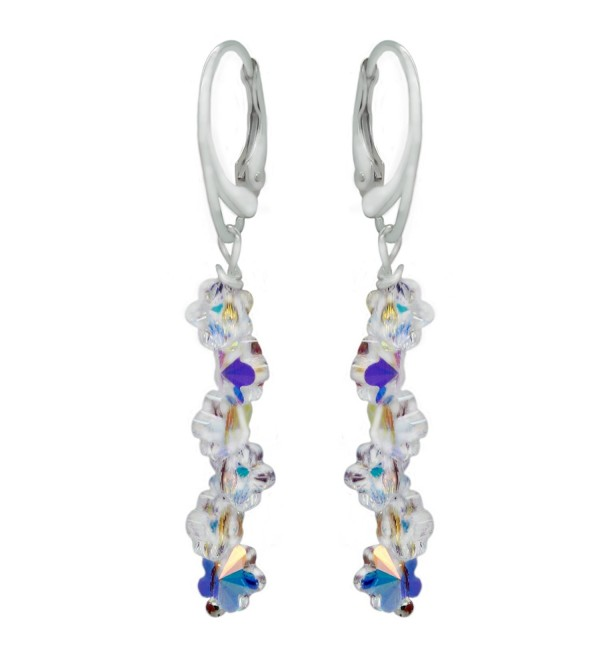 Sterling Silver with Swarovski Crystals Daisy Flower Aurora Borealis Drop and Dangle Leverback Earrings - CC12M0Y3A5L