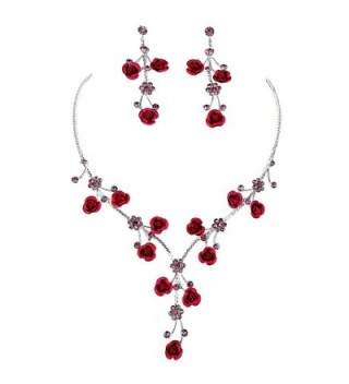 Faceted Metal Rose & Crystal Rhinestone Necklace & Earring set for Bridal- prom (Pink) - CH17Y7KH447