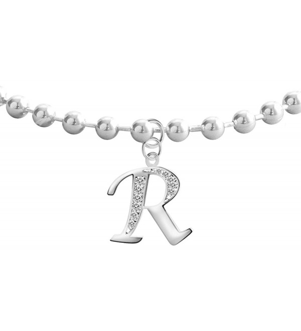 Silver dangly anklet with Alphabet CZ clear crystals - R - CG17YDSNR7O