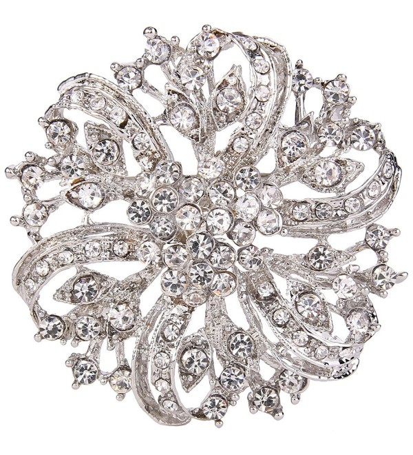 EVER FAITH Austrian Crystal Vintage Inspired Bridal Flower Brooch Corsage - Clear Silver-Tone - CV11BGDMJLF