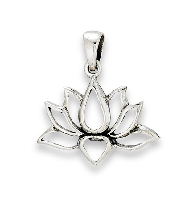 Flower Lotus Pendant .925 Sterling Silver Symbol Strength Om Peace Transformation Charm - CX1822DQ9CW