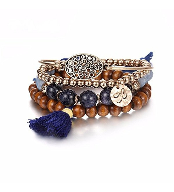 eManco Bohemian Handmade Stackable Beaded Bracelets with Tassel and Charms for Women Jewelry Set customization - CO18509R7R3