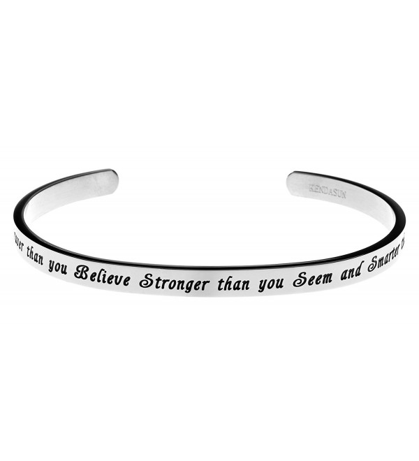 You are Braver than you Believe Stronger than you Seem and Smarter than you Think Cuff Bangle Bracelet - CC12IRWKRX9