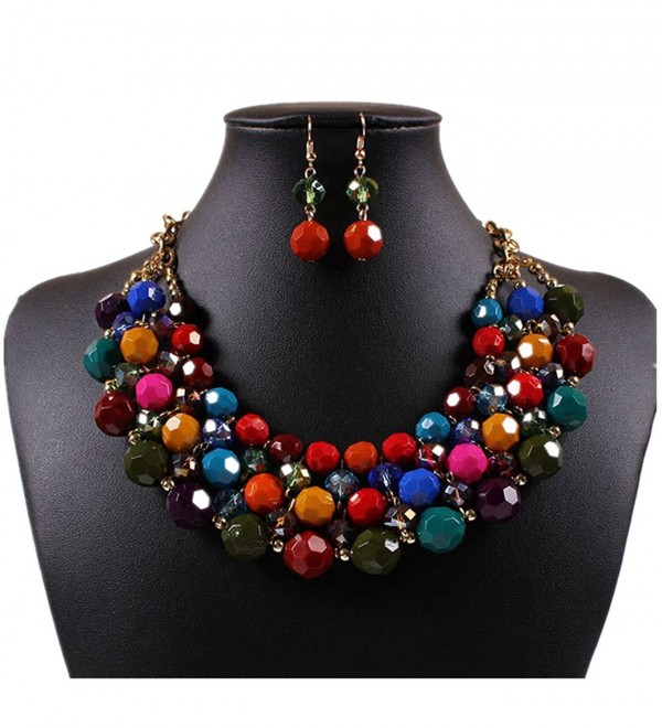 Kexuan Women Girls Bohemia Statement Necklace and Earrings Set Multicolored Charm Beads Chokers - Multi - C5184WCU0TO