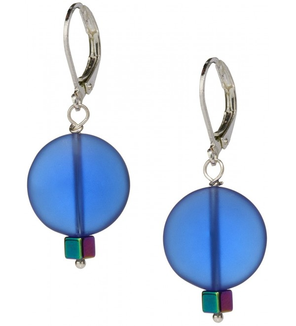 Ocean Blue Sea Glass Earrings- Handmade Jewelry- Swarovski Rainbow Blue Crystal - CB12268GCLB