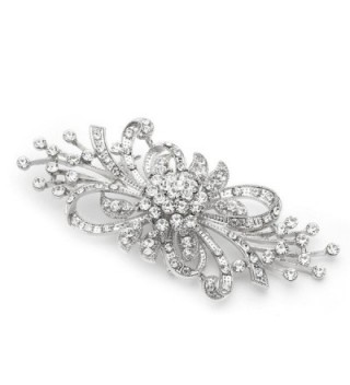Mariell Antique Vintage Spray Crystal Rhinestone Bridal Brooch Pin for Weddings - Sterling Silver Plated - CE123A57PZZ